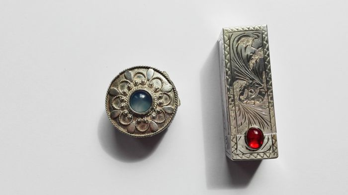 Antique lipstick box and pillbox in silver with cabochon stones
