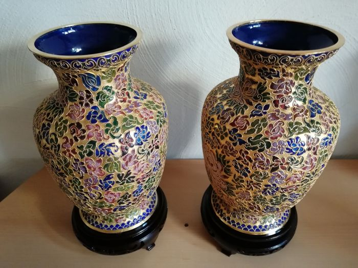 2 Large Bronze Vases Inlaid With Beautiful Coloured Patterns On Wooden Stand, Second Half Of