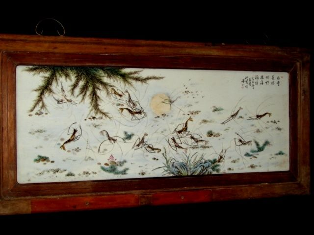 Chinese porcelain picture with pulling prawns (replica) - China - 21st century