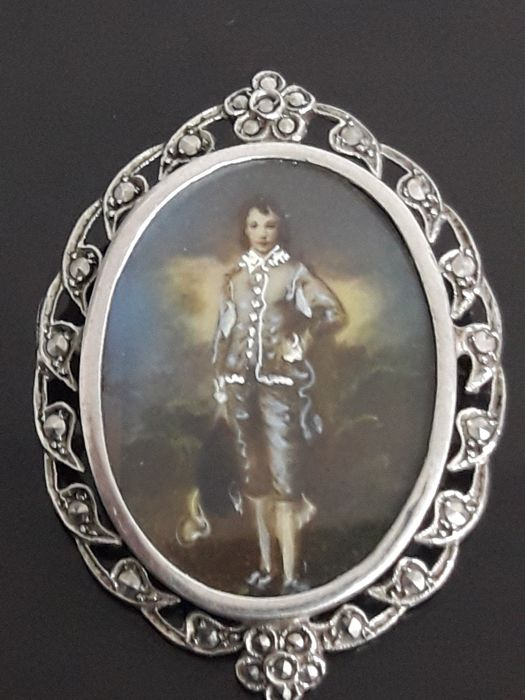 Miniature Painting Brooch in Silver Frame and Marcasites