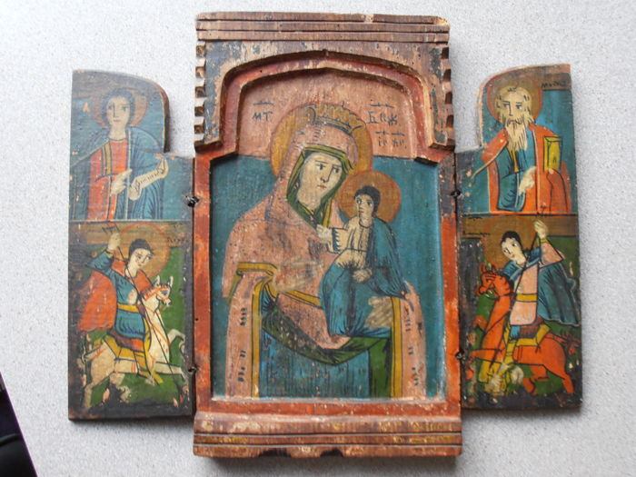 Triptych icon Mother of God - Greek - 19th century