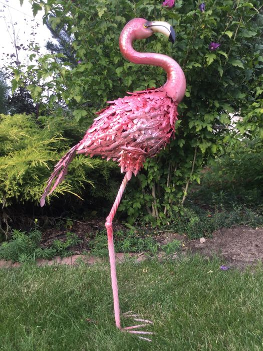 Sculpture of Flamingo, made of metal - 84 cm