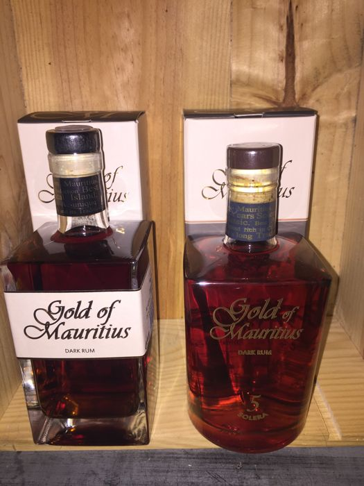 2 bottles of Rhum Mauritius 1 X Gold of Mauritius Dark Rum 70 Cl 40% 1 X Gold of Mauritus Dark Rum Solera 5 Years Aged 70 Cl 40%