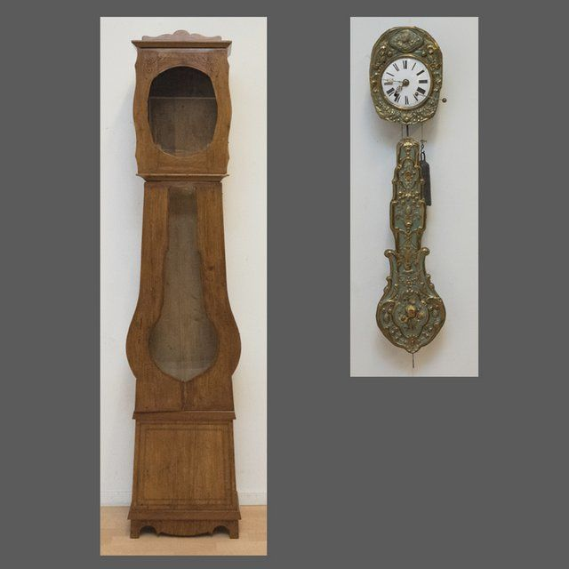 Comtoise clock in spruce case with floral pendulum - France - c. 1880