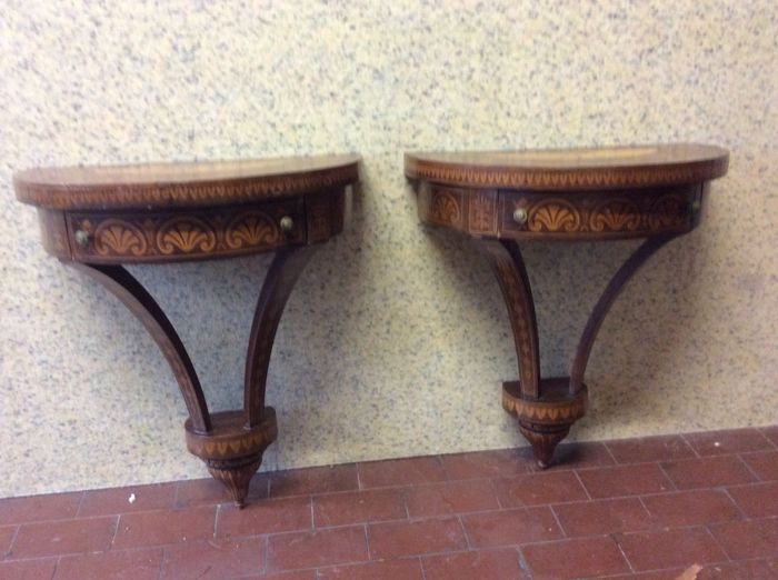 Pair of hanging bedside tables made of carved wood, Italy, early 1900s