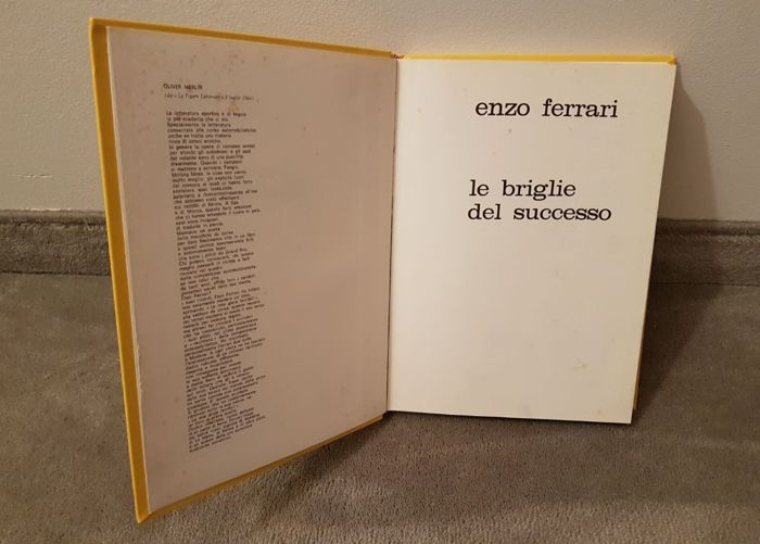 "Ferrari - Book ""Le briglie del successo"" by Enzo Ferrari. Eighth edition, 1970"