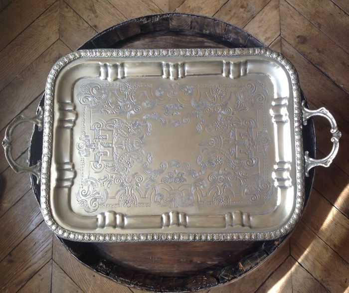 Antique Moroccan platter in chiselled in silver plated metal