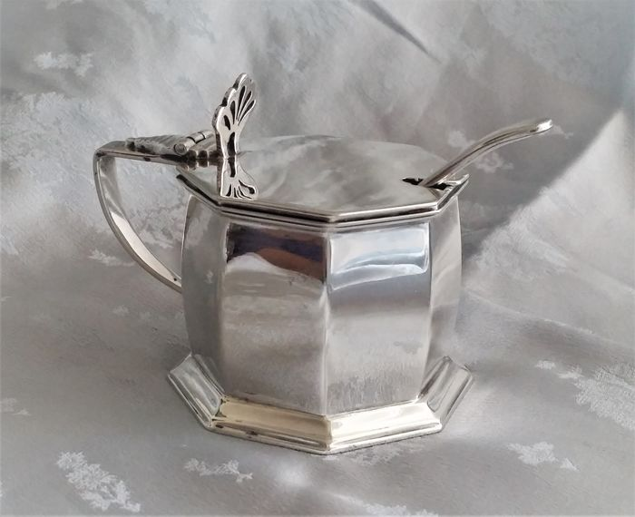 Art Deco sterling silver mustard pot - Charles Perry & Co - Chester - 1927