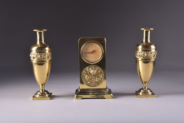 Three-piece vintage Art Nouveau clock with two candle holders - brass case - the Netherlands, around 1940