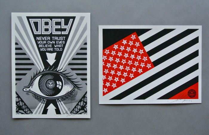 Shepard Fairey (OBEY) - Eye + Flag Set