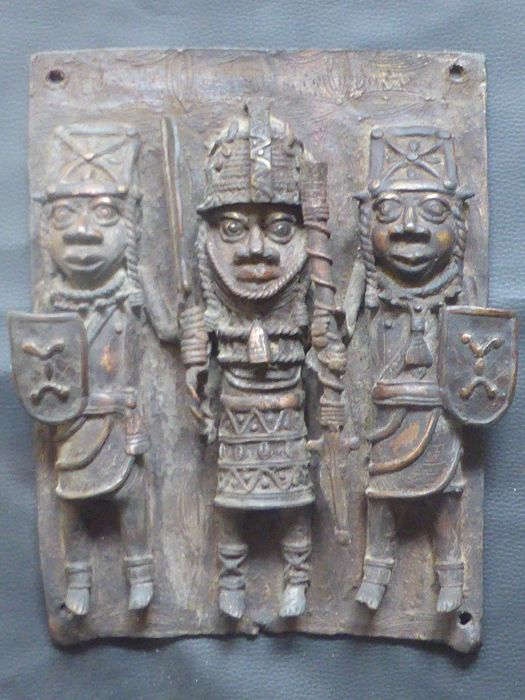 Bronze Relief Panel - Portrayal of Warriors - Edo Kingdom of Benin (Nigeria)