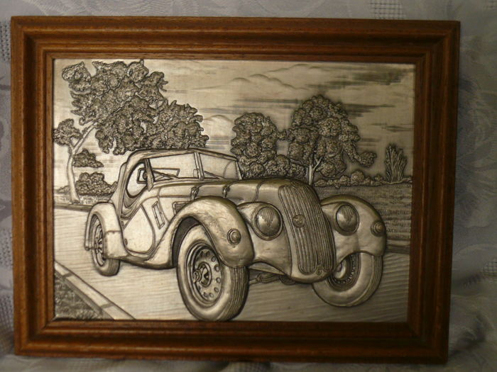 Pure Tin relief representation BMW 328 in 1936, German automobile history.