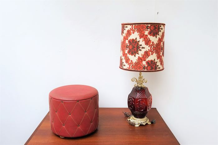 Vintage table lamp and sewing box 1960s/70s