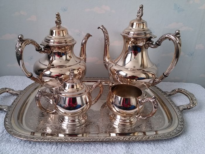 tea coffee set with serving tray silver plated ONEIDA USA 2nd half 20th century