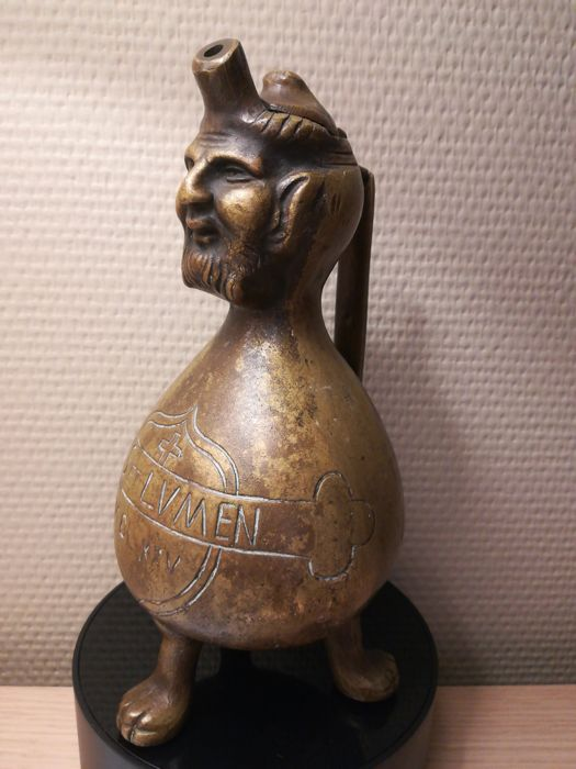 Bearded man water jug / old sacral aquamanile in medieval style, 20th century