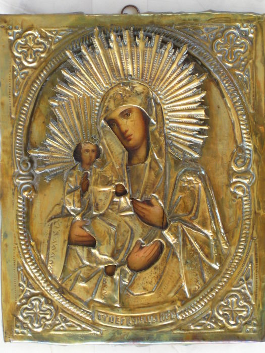 Russian Icon mother of God - late 19th century.