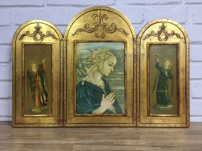 Antique religious triptych of the Virgin Mary and Archangels, Spain, end 19th century