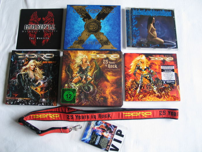 White Snake , Holyhell, Barathrum and Doro, lot of 7 CD's + 2 DVD's and 1 VIP strap
