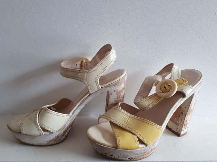 Prada Yellow Patent Open Toes Cork Platform Sandals