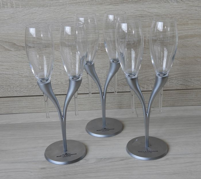 Philippe di Meo for Reso Design - Moët & Chandon, 3 metal glass holders with two flutes each