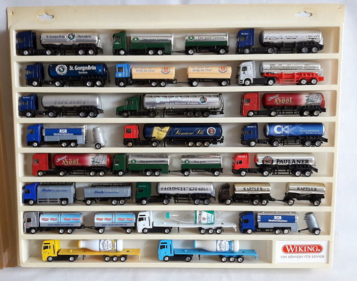Tank car 23 advertising trucks, all special models 1/87 in Wiking collection box 1996 – 2008