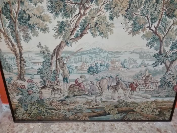 Beautiful large tapestry with landscape of a hunting scene - France/Holland?