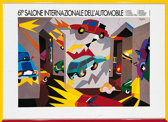 Rare original poster of 1986 Salone Internazionale dell'Automobile of Turin - Artist Ugo Nespolo, framed