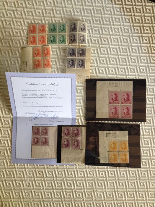 Belgium 1919 - Albert I with helmet - selection of blocks of 4 with certificate