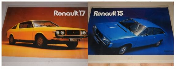 Renault 17 - Renault 15 - Lot of 3 original posters from 1971 - Format 62 x 98 cm