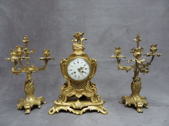 Louis VX clock and candle holders - Circa 1880