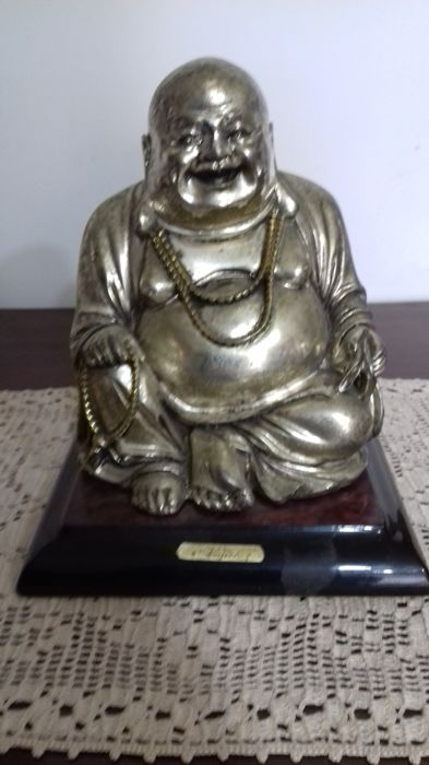 Vintage silver plated sculpture, depicting Buddha, on wooden base