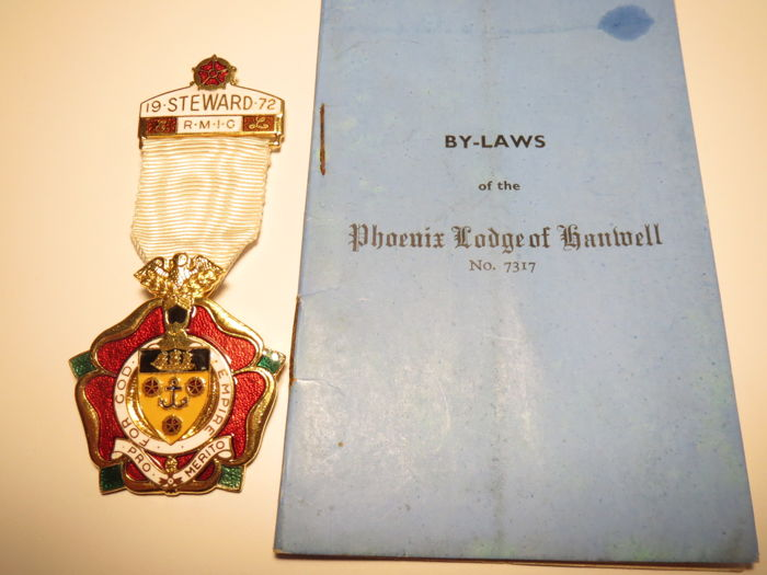 "Masonic insignia: RMIG Steward 1972 ""For God Empire""""+Memorandum of laws lodge№7317"