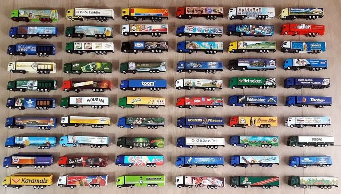 Truck models collection with 60 pieces of advertising trucks 1/87 many rarities and special models