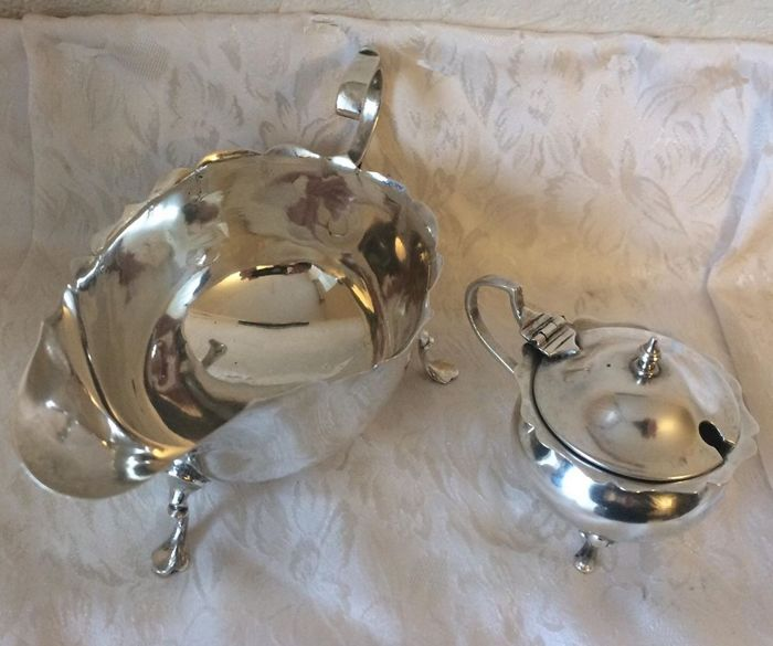 Sterling silver sauceboat and mustard pot - Marples & Co. - Sheffield - 1906 - Henry Williamson, Ltd. - London - 1923