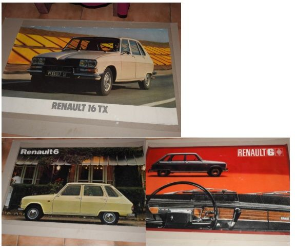 Renault 6 - Renault 16 TX - set of 3 original posters from 1968 and 1970 Format 62 x 98 cm
