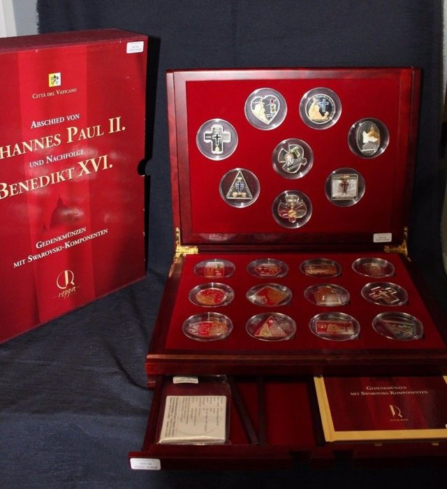 Vatican/Germany - 20 commemorative coins Farewell to John Paul II and Successor Benedict XVI - silver with Swarovski