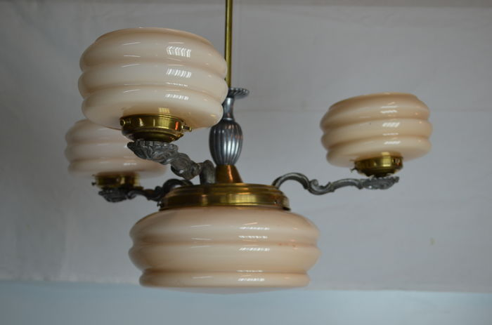 Four lights Chandelier  - brass and aluminium with four cream beige opaline shades that give a very warm light - 1940 - France
