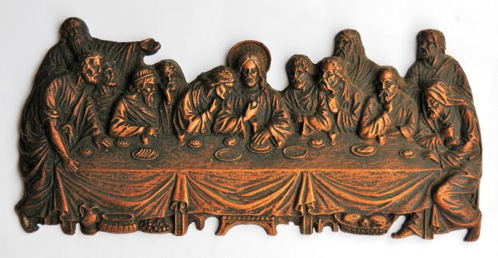 Antique Large Plaster Cast Last Supper Theme