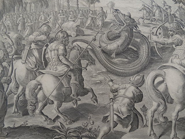 Jan van der Straet (1523 - 1605)  - Battle wih monstruos snake