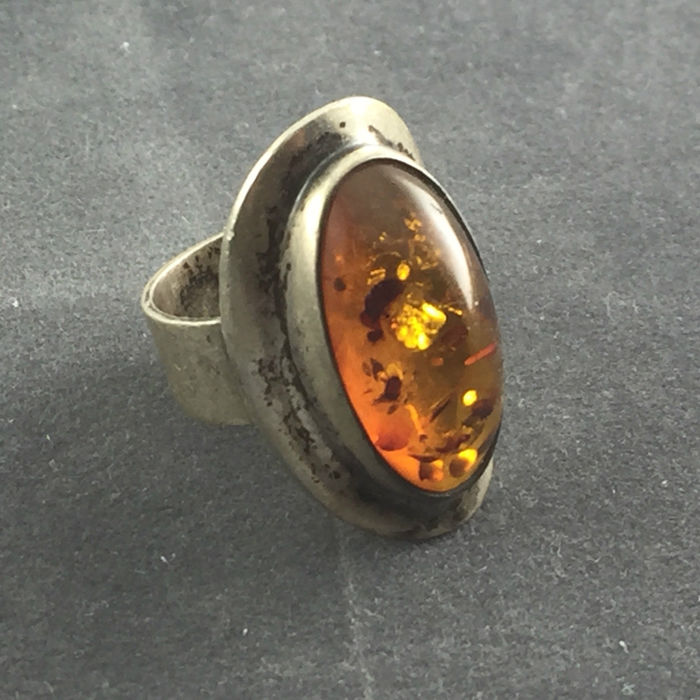 Amber ring 835 silver - size 52