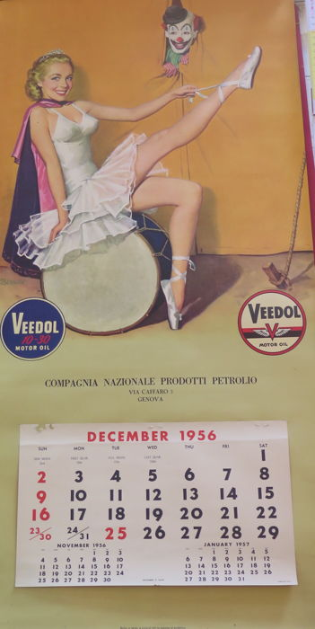 1956 Advertising Calendar - Veedol Motor Oil