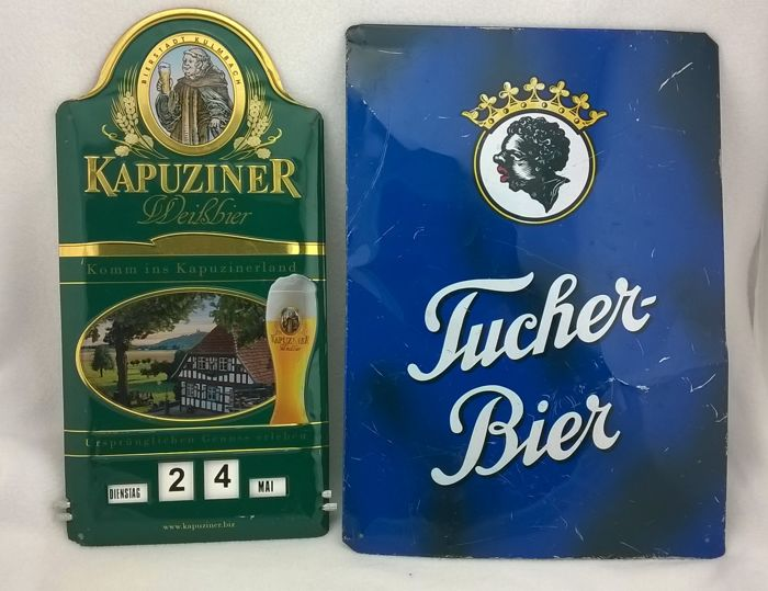Two Enamel advertising signs Famous Beer brands