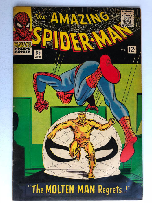 Marvel Comics - The Amazing Spider-Man #35 - 2nd Appearance of the Molten Man - 1x sc - (1966)