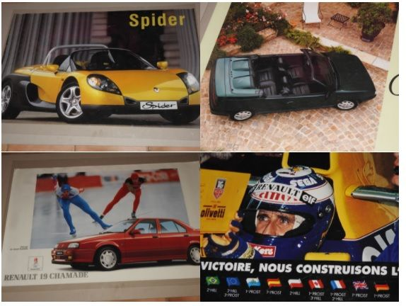 Renault Spider, Convertible, racing, F1 - Formula 1 - lot of 4 original posters from 1988 to 1996 - Format 62 x 98 cm