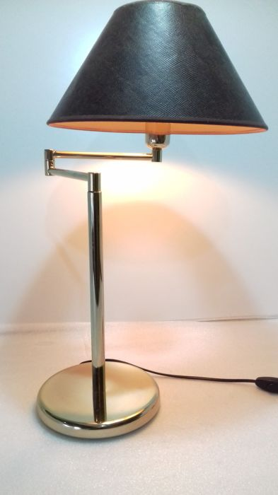 Beautiful massive desk lamp - with adjustable arm - lamp shade in tones of gold inside -1980/90