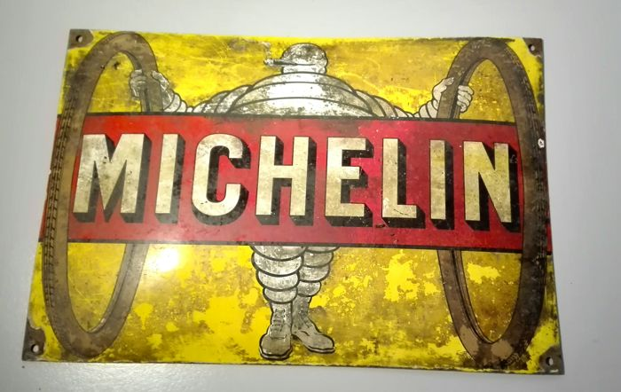 Rare enamelled Michelin plate - bicycle tires
