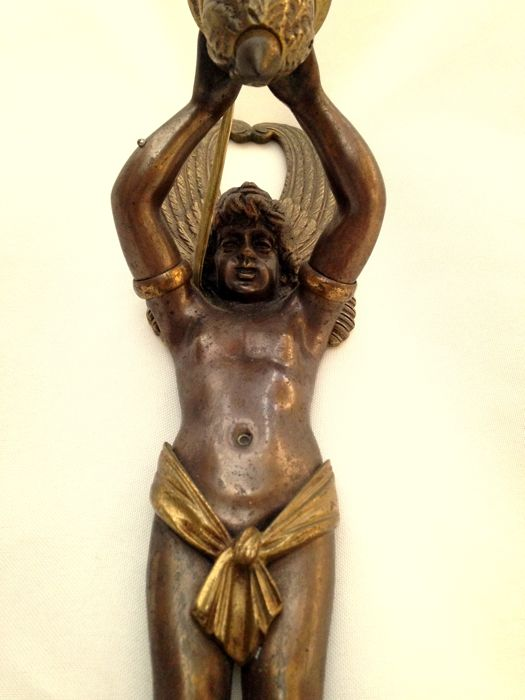 Sconce - 3 Wall Light - Gilt Bronze  - Empire Style - Child Figure