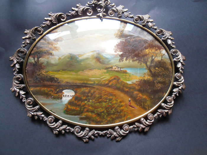 Oval oil painting on copper, depicting a landscape, with beautiful frame in burnished brass and convex glass - late 19th century/early 20th century - dimensions 46cmx41 cm