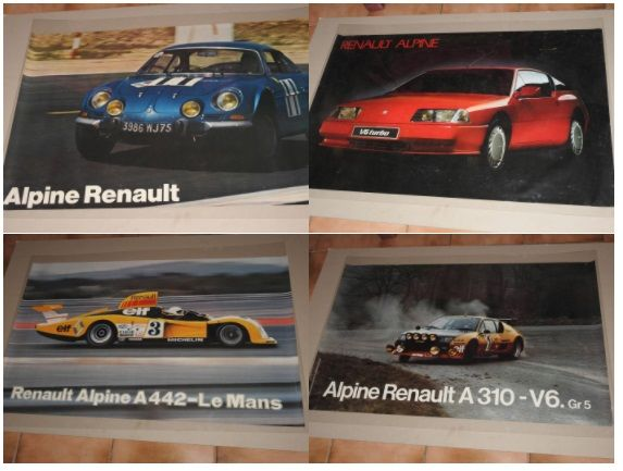 Alpine Renault - Set of 4 original posters from 1962 to 1986 - Format 62 x 98 cm