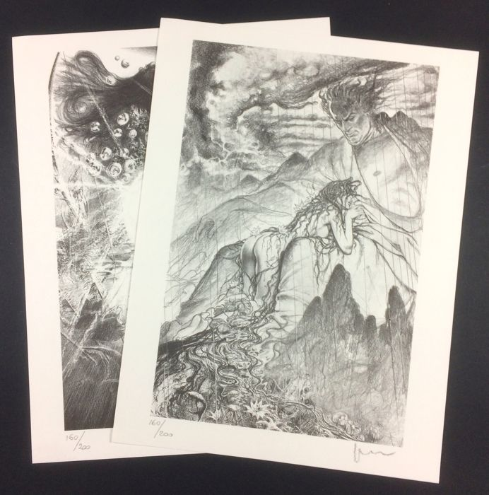 Manara, Milo - 2 lithographs, tribute to Fellini - signed and numbered - ca. 2000